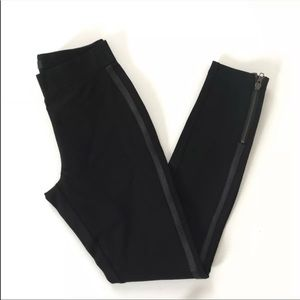 J.Crew Pixie Pants Size 0 Black Leather Stripe